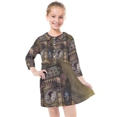 London Big Ben Building Kids  Quarter Sleeve Shirt Dress