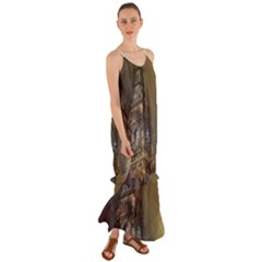 London Big Ben Building Cami Maxi Ruffle Chiffon Dress