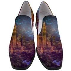City Lights Skyline Buildings Women Slip On Heel Loafers