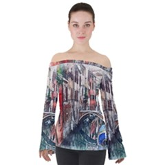 Venice Water Laguna Italy Off Shoulder Long Sleeve Top