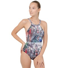 Venice Water Laguna Italy High Neck One Piece Swimsuit