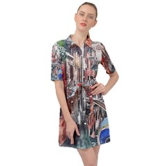 Venice Water Laguna Italy Belted Shirt Dress
