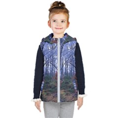 Forest Beeches Way Winter Snow Kids  Hooded Puffer Vest by Wegoenart