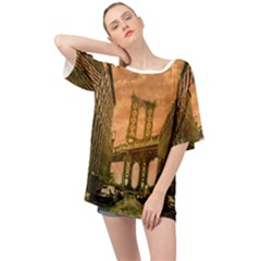 Architecture Buildings City Bridge Oversized Chiffon Top