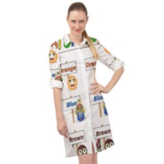 Graphic Smiley Color Diagram Long Sleeve Mini Shirt Dress by Bejoart