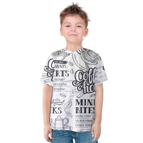 Vintage Coffee Tea Cafe Hamburger Menu Coffee Shop Menu Kids  Cotton Tee by Bejoart