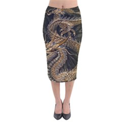 Fantasy Dragon Pentagram Velvet Midi Pencil Skirt