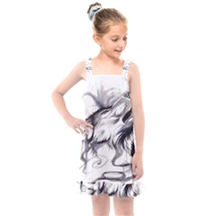 Tattoo Ink Flash Drawing Wolf Kids  Overall Dress