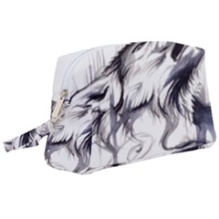 Tattoo Ink Flash Drawing Wolf Wristlet Pouch Bag (large)