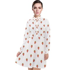 Cartoon Style Strawberry Pattern Long Sleeve Chiffon Shirt Dress