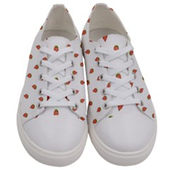 Cartoon Style Strawberry Pattern Women s Low Top Canvas Sneakers