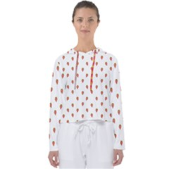 Cartoon Style Strawberry Pattern Women s Slouchy Sweat