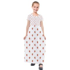 Cartoon Style Strawberry Pattern Kids  Short Sleeve Maxi Dress
