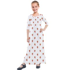 Cartoon Style Strawberry Pattern Kids  Quarter Sleeve Maxi Dress by dflcprintsclothing