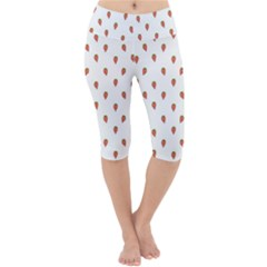 Cartoon Style Strawberry Pattern Lightweight Velour Cropped Yoga Leggings