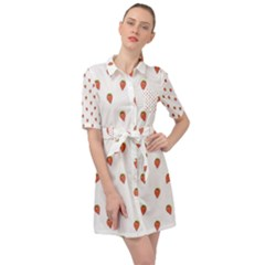 Cartoon Style Strawberry Pattern Belted Shirt Dress by dflcprintsclothing