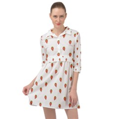 Cartoon Style Strawberry Pattern Mini Skater Shirt Dress by dflcprintsclothing