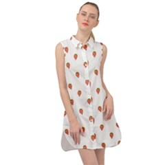 Cartoon Style Strawberry Pattern Sleeveless Shirt Dress by dflcprintsclothing