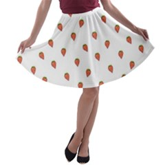 Cartoon Style Strawberry Pattern A Line Skater Skirt by dflcprintsclothing