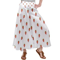Cartoon Style Strawberry Pattern Satin Palazzo Pants by dflcprintsclothing