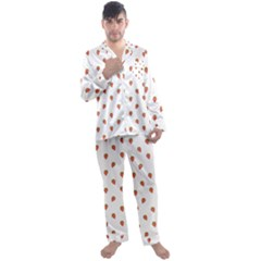 Cartoon Style Strawberry Pattern Men s Satin Pajamas Long Pants Set