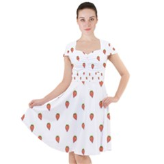 Cartoon Style Strawberry Pattern Cap Sleeve Midi Dress by dflcprintsclothing