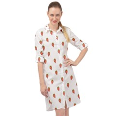 Cartoon Style Strawberry Pattern Long Sleeve Mini Shirt Dress by dflcprintsclothing