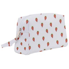 Cartoon Style Strawberry Pattern Wristlet Pouch Bag (large)