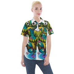 Grand Master Oogway, Master Turtle Women s Short Sleeve Pocket Shirt