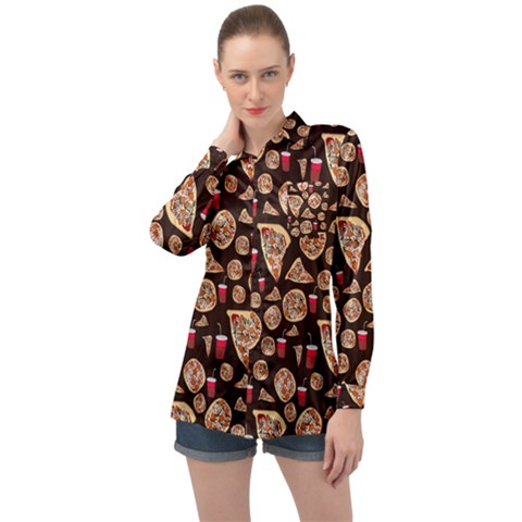 Pizza Pattern Long Sleeve Satin Shirt by bloomingvinedesign