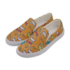 Dinosaurs Pattern Women s Canvas Slip Ons by NiOng