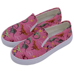 Dinosaurs Pattern Kids  Canvas Slip Ons by NiOng