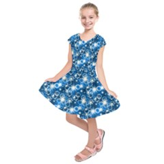 Star Hexagon Deep Blue Light Kids  Short Sleeve Dress by Jojostore