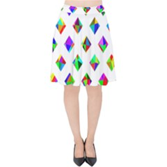 Rainbow Lattice Velvet High Waist Skirt
