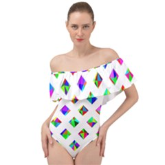 Rainbow Lattice Off Shoulder Velour Bodysuit