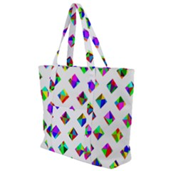 Rainbow Lattice Zip Up Canvas Bag