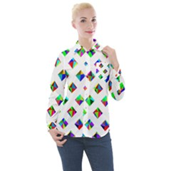 Rainbow Lattice Women s Long Sleeve Pocket Shirt