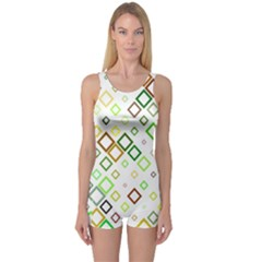 Square Colorful Geometric One Piece Boyleg Swimsuit by AnjaniArt