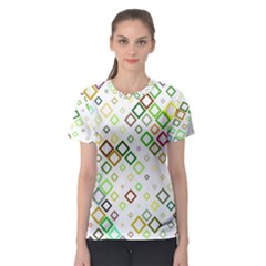 Square Colorful Geometric Women s Sport Mesh Tee