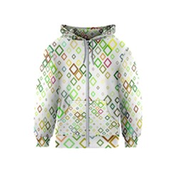 Square Colorful Geometric Kids  Zipper Hoodie by AnjaniArt