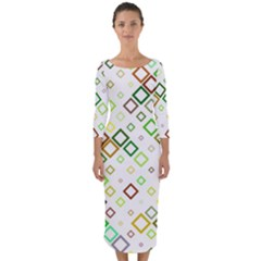 Square Colorful Geometric Quarter Sleeve Midi Bodycon Dress by AnjaniArt