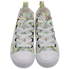 Square Colorful Geometric Kids  Mid Top Canvas Sneakers