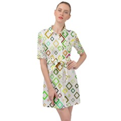 Square Colorful Geometric Belted Shirt Dress by AnjaniArt