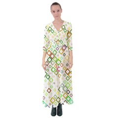Square Colorful Geometric Button Up Maxi Dress