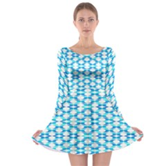 Fabric Geometric Aqua Crescents Long Sleeve Skater Dress