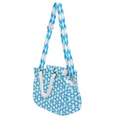 Fabric Geometric Aqua Crescents Rope Handles Shoulder Strap Bag by Bajindul