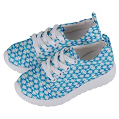Fabric Geometric Aqua Crescents Kids  Lightweight Sports Shoes by Bajindul