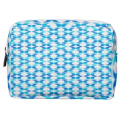 Fabric Geometric Aqua Crescents Make Up Pouch (medium)