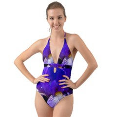 Zappwaits Flower Halter Cut-Out One Piece Swimsuit