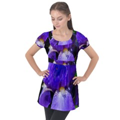 Zappwaits Flower Puff Sleeve Tunic Top